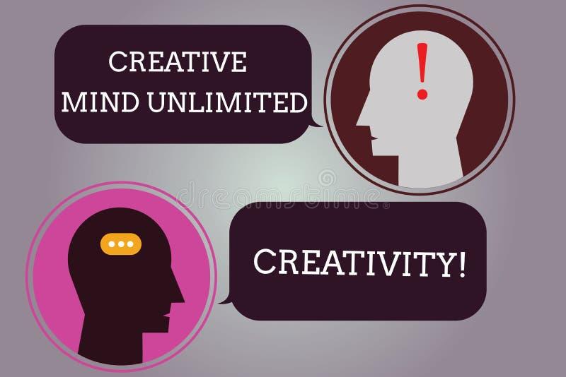 Scrittura concettuale della mano che mostra a mente creativa creatività illimitata Testo della foto di affari in pieno delle idee royalty illustrazione gratis