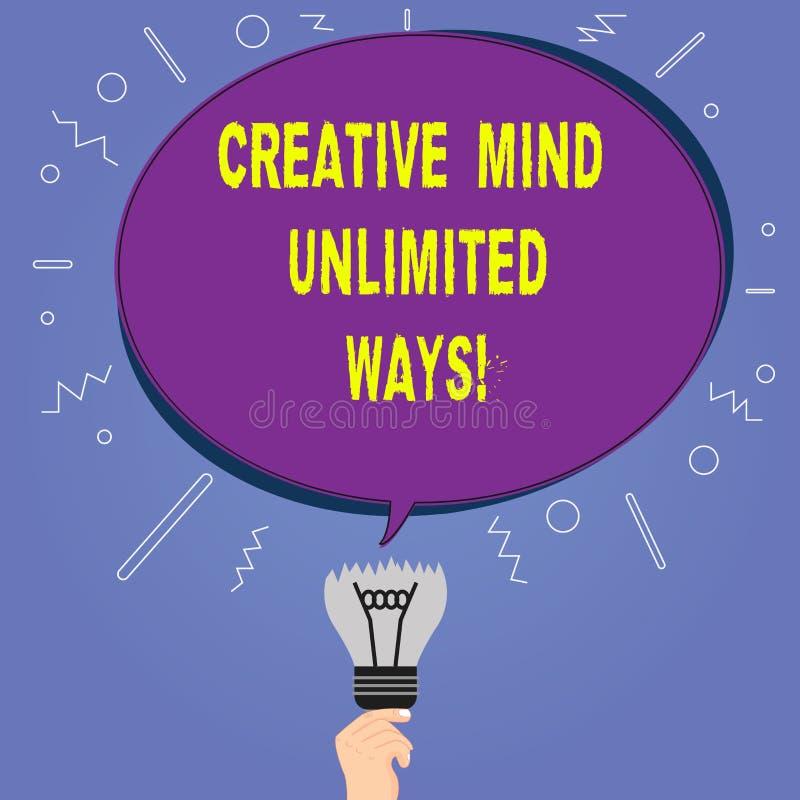 Scrittura concettuale della mano che mostra a mente creativa i modi illimitati La foto di affari che montra la creatività porta i illustrazione vettoriale