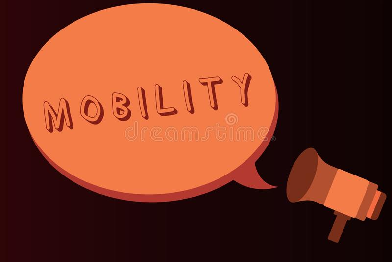 Scrittura concettuale della mano che mostra mobilità Capacità del testo della foto di affari di muoversi o essere adattabilità fa illustrazione vettoriale