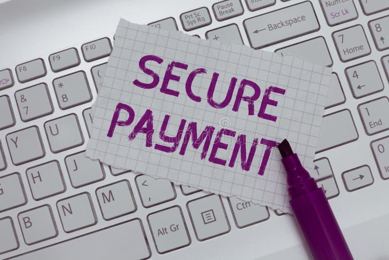 Scrittura concettuale della mano che mostra pagamento sicuro La sicurezza del testo della foto di affari del pagamento si riferis fotografia stock libera da diritti