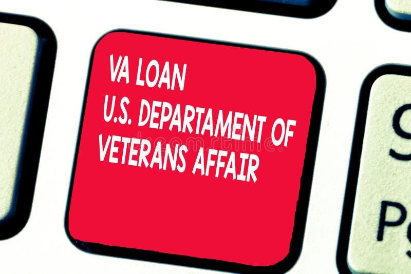 Scrittura concettuale della mano che mostra prestito U di Va S Departament degli affari dei veterani Forze armate del testo della immagini stock libere da diritti