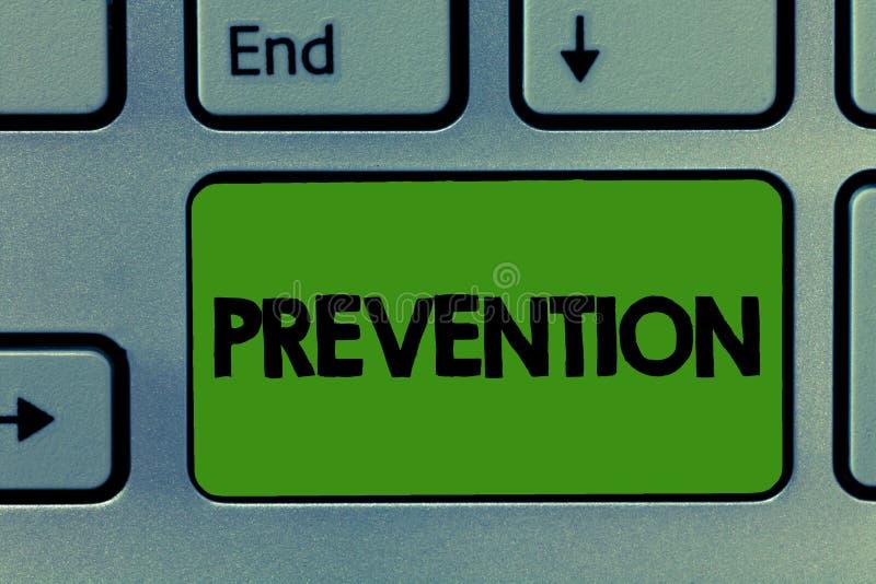 Scrittura concettuale della mano che mostra prevenzione Foto di affari che montra fermando qualcosa dalla sanità d'avvenimento immagini stock libere da diritti