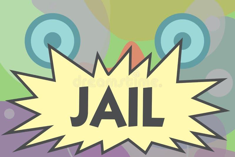 Scrittura concettuale della mano che mostra prigione Posto del testo della foto di affari per la relegazione della gente accusata illustrazione di stock