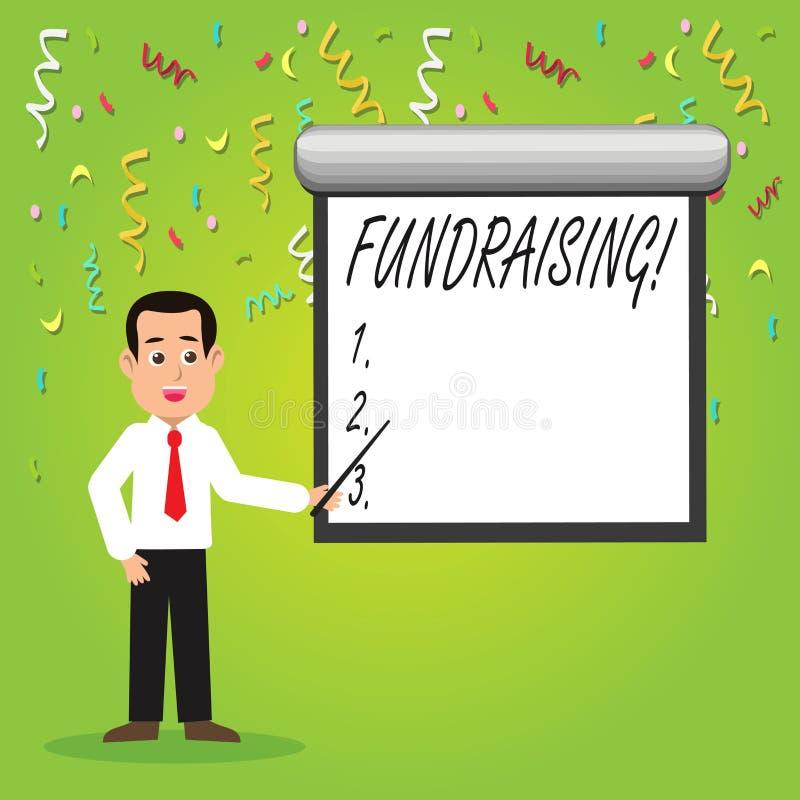 Scrittura concettuale della mano che mostra raccolta di fondi Foto di affari che montra ricerca del contributo finanziario per ca royalty illustrazione gratis