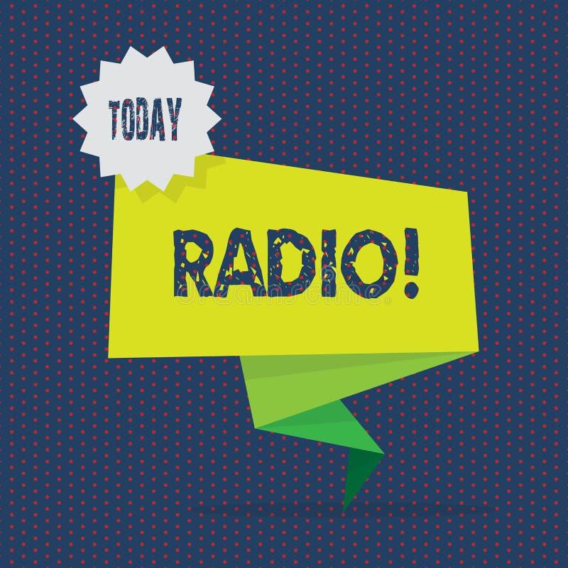 Scrittura concettuale della mano che mostra radio Foto di affari che montra attrezzatura elettronica utilizzata per ascoltare le  illustrazione di stock