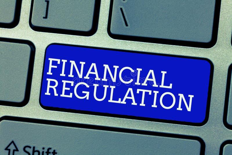 Scrittura concettuale della mano che mostra regolamento finanziario Foto di affari che montra scopo per mantenere l'integrità di  immagine stock