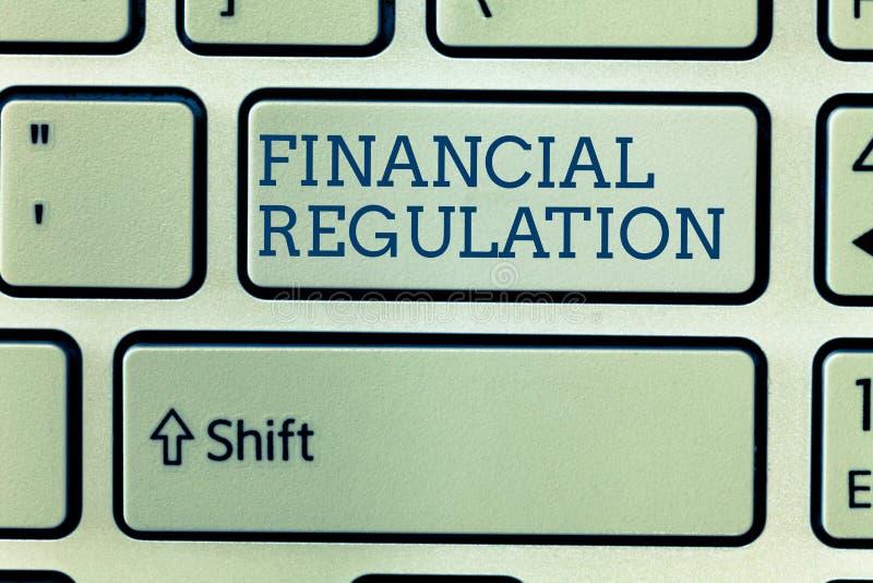 Scrittura concettuale della mano che mostra regolamento finanziario Foto di affari che montra scopo per mantenere l'integrità di  fotografia stock