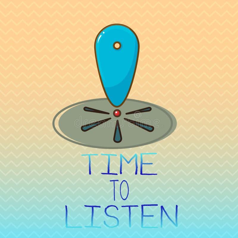 Scrittura concettuale della mano che mostra tempo di ascoltare Foto di affari che montra attenzione di elasticità a qualcuno o a  royalty illustrazione gratis