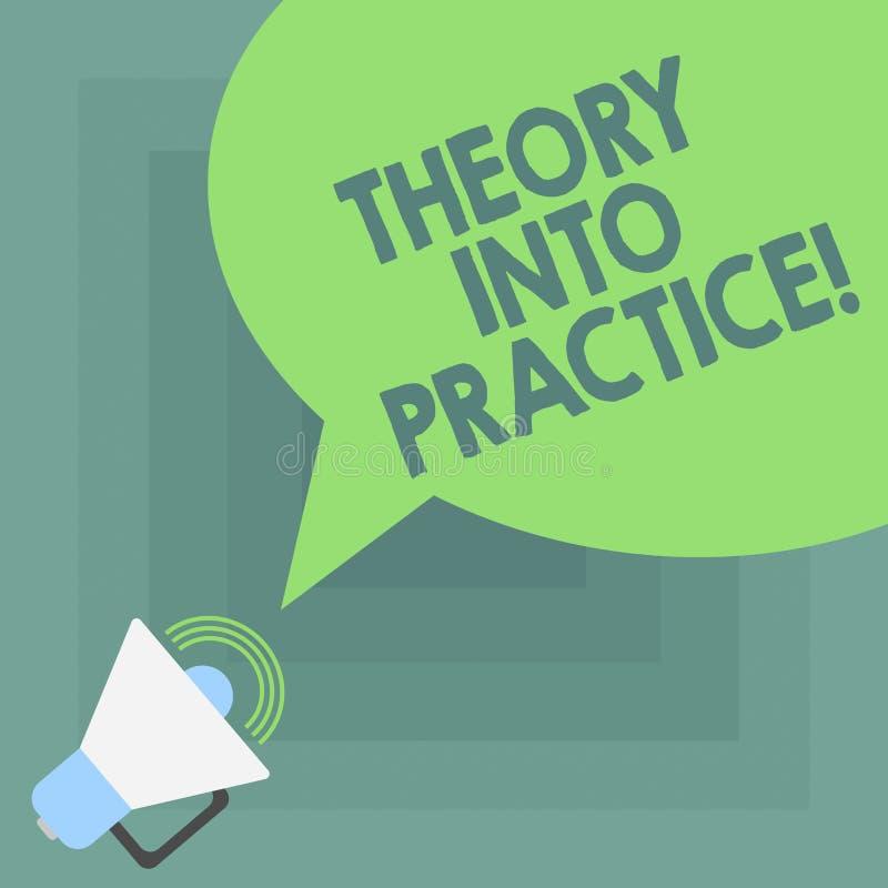 Scrittura concettuale della mano che mostra teoria in pratica La foto di affari che montra le mani sull'apprendimento applica la  illustrazione di stock