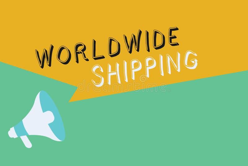 Scrittura concettuale della mano che mostra trasporto mondiale Foto di affari che montra consegna dei trasporti via mare delle me illustrazione di stock