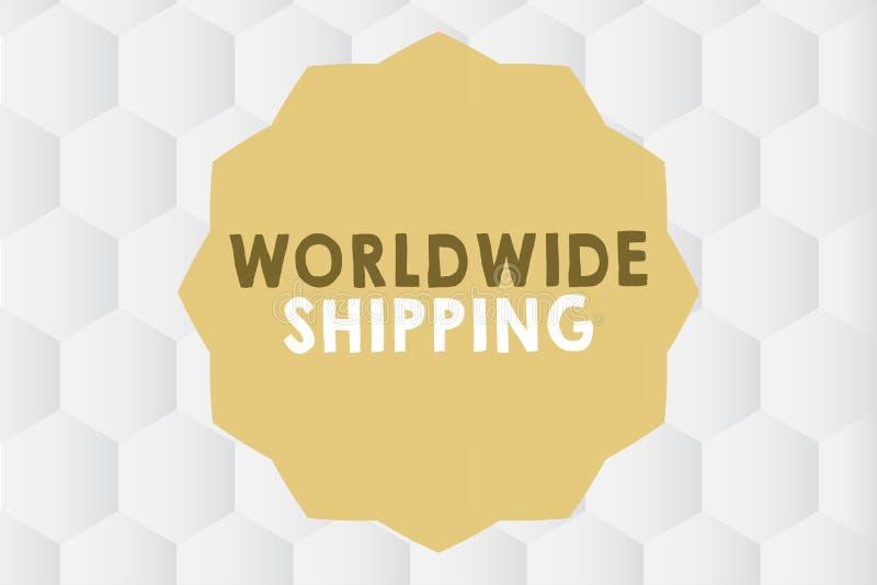 Scrittura concettuale della mano che mostra trasporto mondiale Foto di affari che montra consegna dei trasporti via mare delle me illustrazione vettoriale