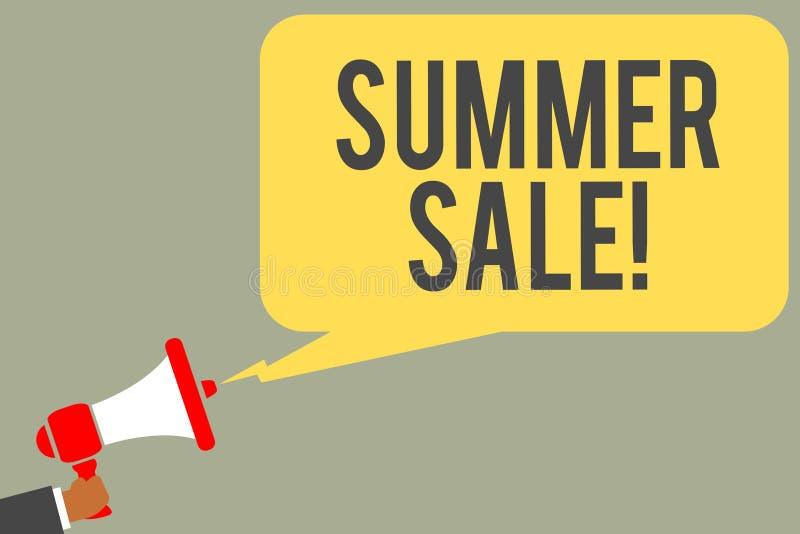 Scrittura concettuale della mano che mostra vendita di estate Eventi annuali di sconto del testo della foto di affari che ha luog fotografia stock