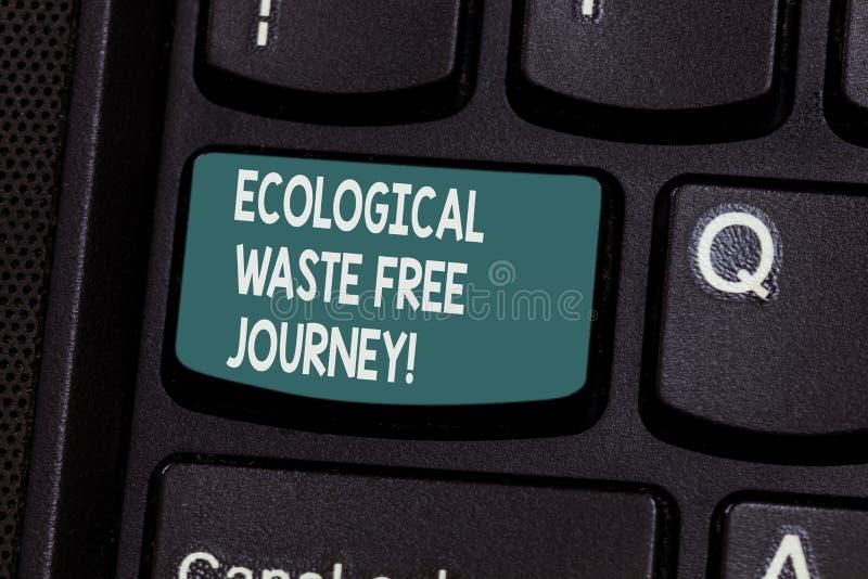 Scrittura concettuale della mano che mostra viaggio libero residuo ecologico Riciclaggio di protezione dell'ambiente del testo de immagini stock