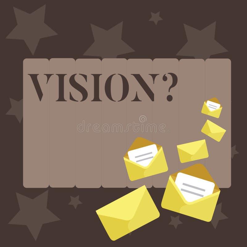 Scrittura concettuale della mano che mostra Visionquestion Foto di affari che montra impegno della società che descrive futuro re royalty illustrazione gratis
