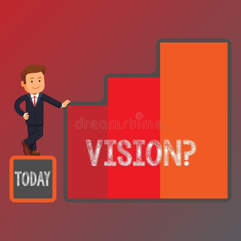 Scrittura concettuale della mano che mostra Visionquestion Foto di affari che montra impegno della società che descrive futuro re illustrazione vettoriale