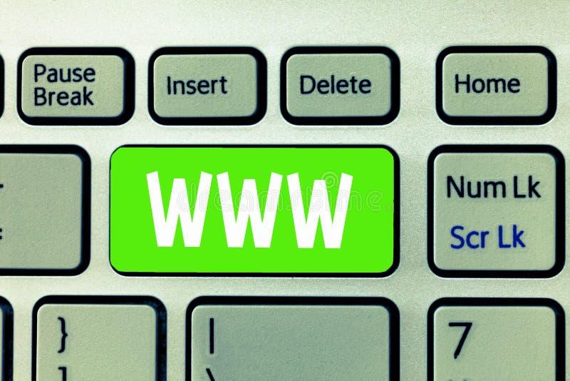 Scrittura concettuale della mano che mostra WWW La rete del testo della foto di affari del contenuto online ha formattato in HTML immagini stock