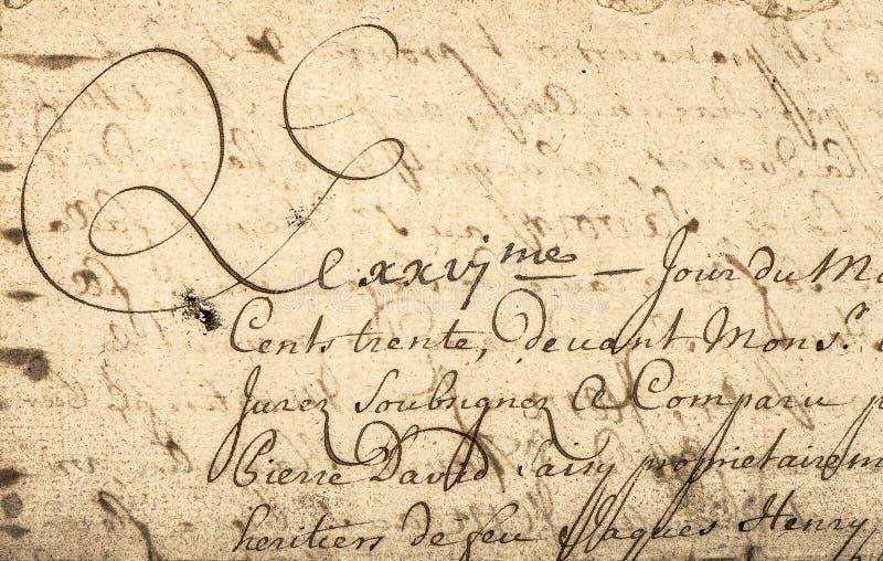 Scrittura d'annata con testo latino Priorità bassa di carta di Grunge fotografia stock libera da diritti