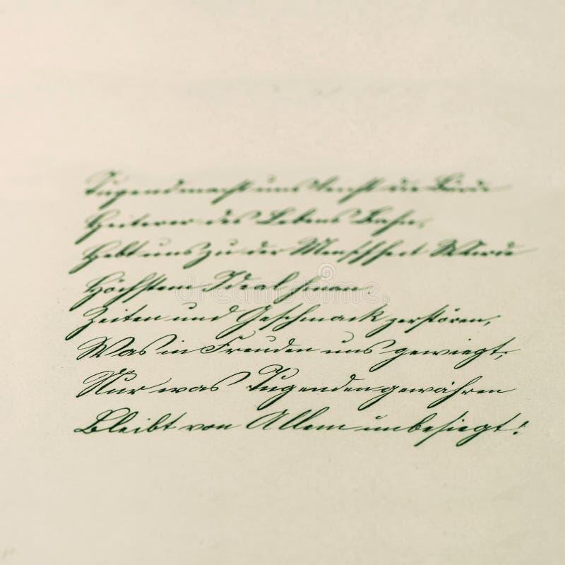 Scrittura d'annata manoscritto antico Documento invecchiato immagini stock libere da diritti