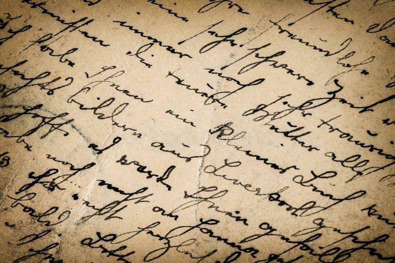 Scrittura d'annata scritto antico Priorità bassa di carta fotografia stock libera da diritti