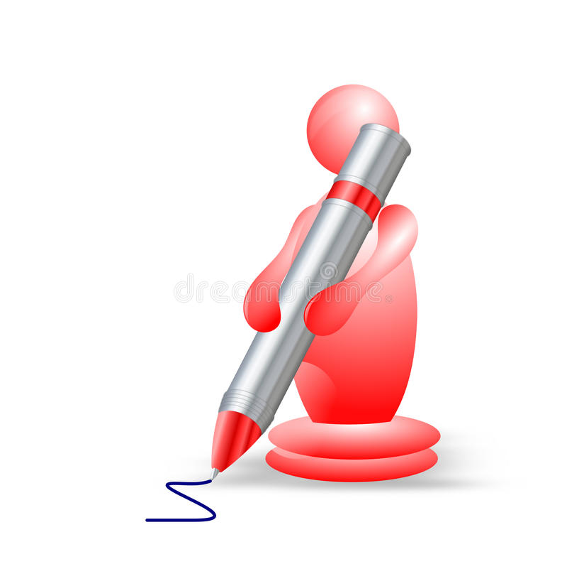 scrittura del carattere 3D con una grande penna royalty illustrazione gratis