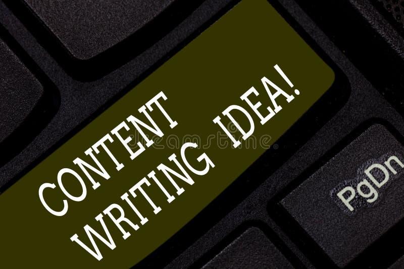 Scrittura del contenuto di rappresentazione della nota che scrive idea Foto di affari che montra i concetti sulla scrittura delle fotografie stock