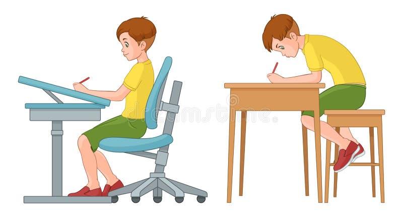 Scrittura del ragazzo dello studente Posizione seduta posteriore sbagliata e corretta illustrazione di stock