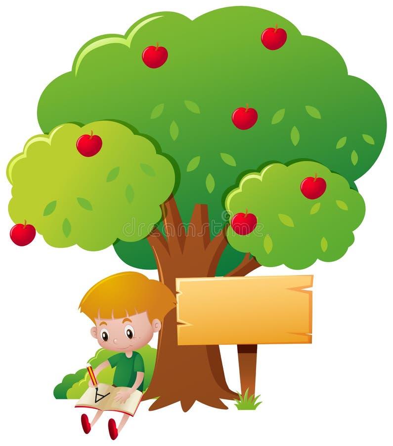 Scrittura del ragazzo sotto di melo illustrazione vettoriale