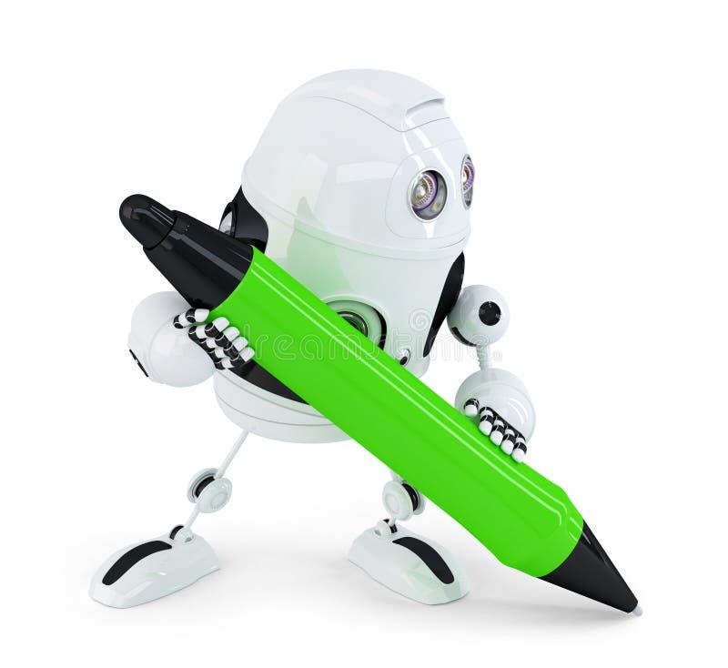 Scrittura del robot con la penna rossa Contiene il percorso di ritaglio royalty illustrazione gratis
