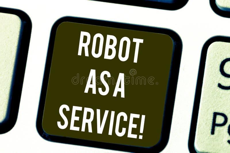 Scrittura del robot di rappresentazione della nota come servizio Foto di affari che montra il bot di chiacchierata di assistenza  royalty illustrazione gratis