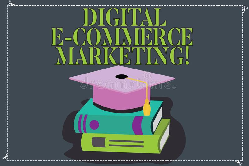 Scrittura dell'introduzione sul mercato di commercio elettronico di Digital di rappresentazione della nota Foto di affari che mon royalty illustrazione gratis