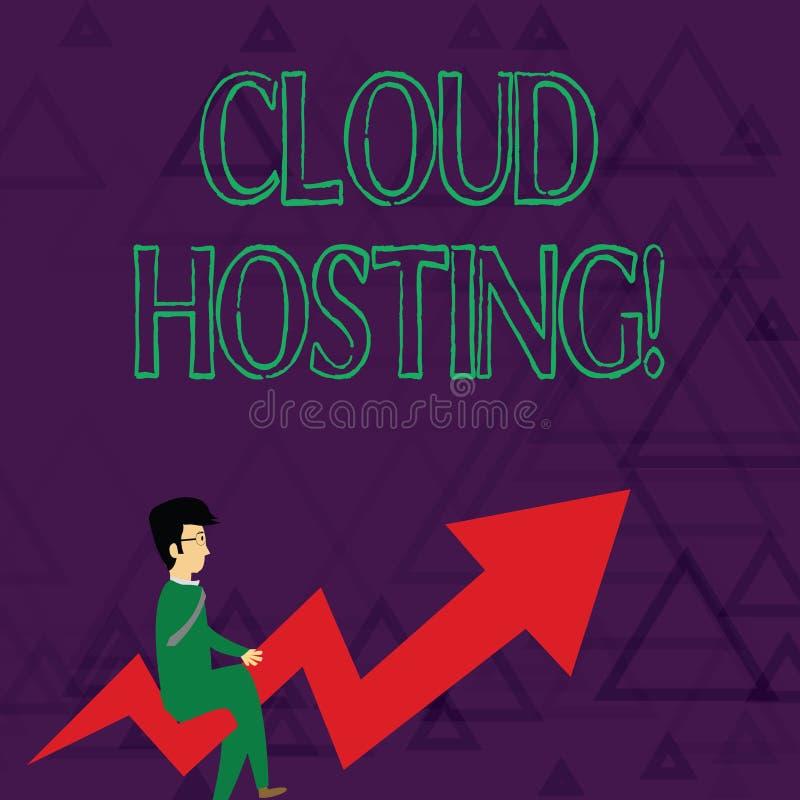 Scrittura dell'ospitalità della nuvola di rappresentazione della nota Foto di affari che montra l'alternativa a ospitare i siti W illustrazione vettoriale