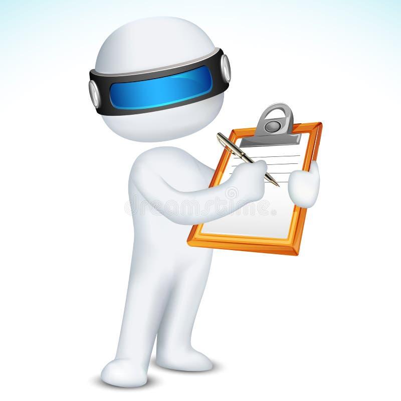 scrittura dell'uomo 3d sul blocchetto per appunti illustrazione di stock