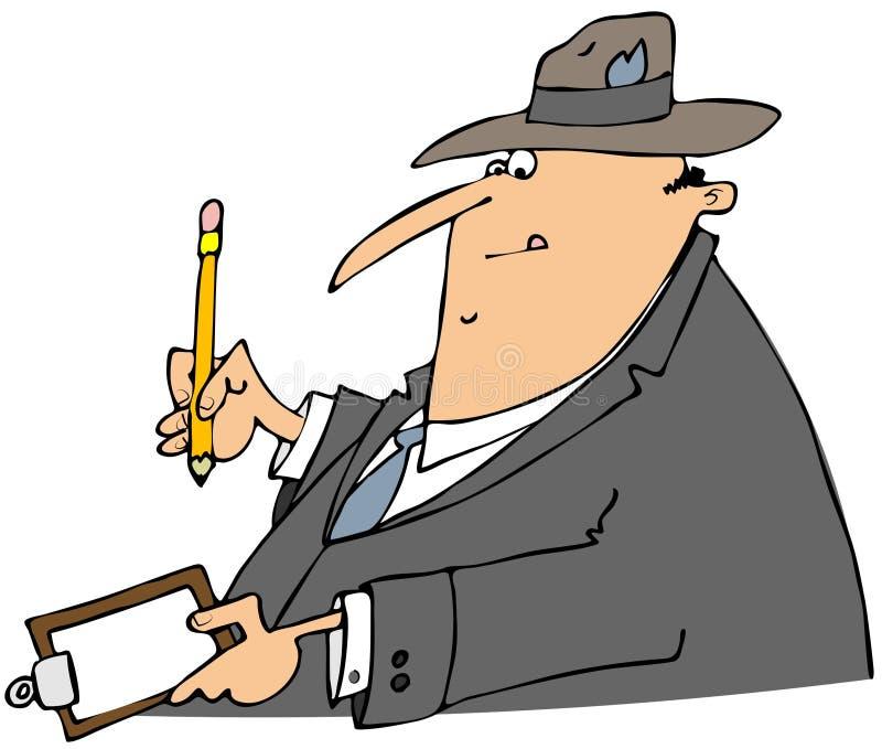 Scrittura dell'uomo d'affari su una lavagna per appunti illustrazione di stock