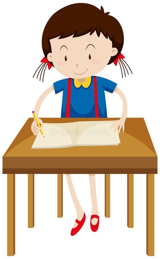 Scrittura della bambina sul libro in bianco royalty illustrazione gratis