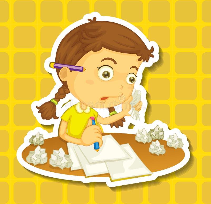Scrittura della bambina sulla carta royalty illustrazione gratis