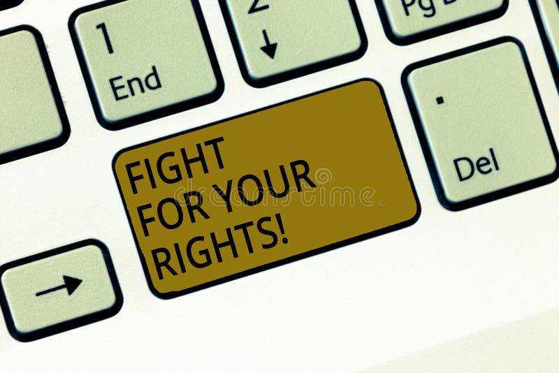 Scrittura della lotta di rappresentazione della nota per i vostri diritti Montrare della foto di affari fa l'equilibrio della giu immagini stock libere da diritti