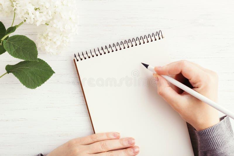 Scrittura della mano del ` s della donna in taccuino fotografia stock libera da diritti