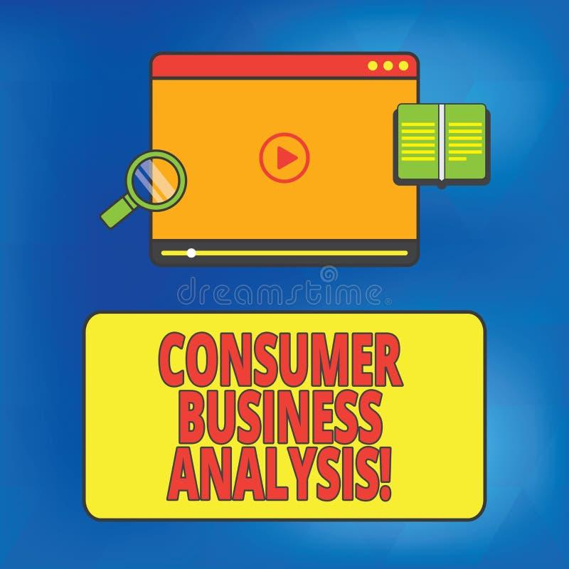 Scrittura della nota che mostra analisi commerciale di commercio al consumatore Montrare della foto di affari raccoglie le inform illustrazione di stock