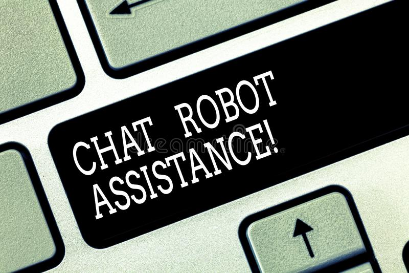 Scrittura della nota che mostra assistenza del robot di chiacchierata La foto di affari che montra i servizi di assistenza al cli immagine stock