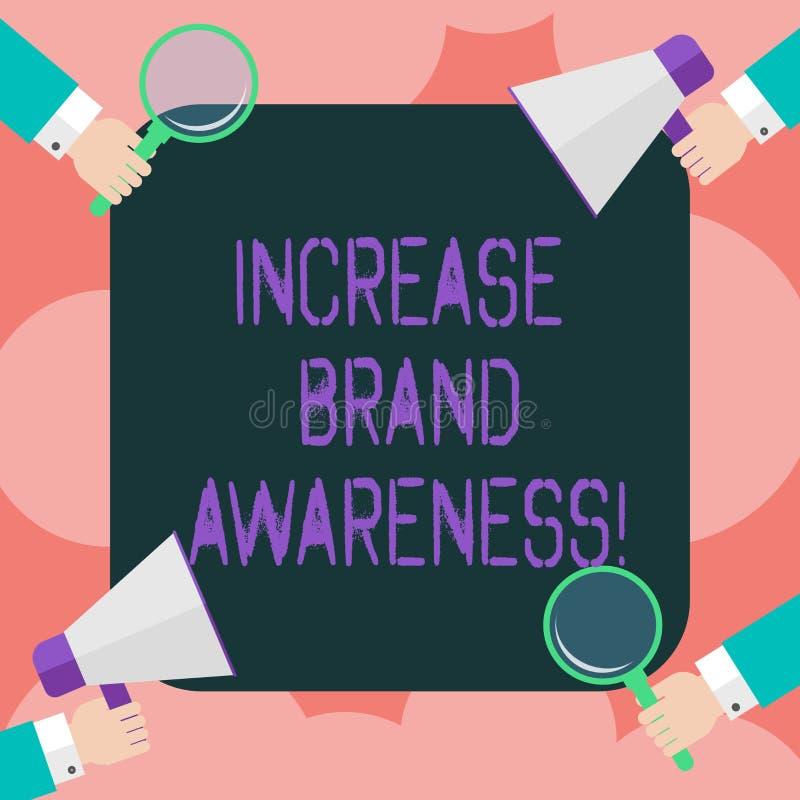 Scrittura della nota che mostra consapevolezza di marca di aumento Montrare della foto di affari convince i influencers per visua royalty illustrazione gratis
