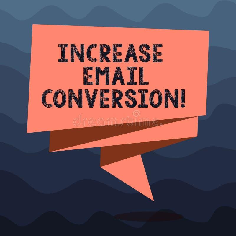Scrittura della nota che mostra conversione del email di aumento La foto di affari che montra l'azione che ha luogo alla vostra p royalty illustrazione gratis