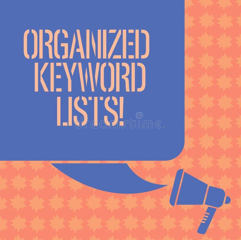 Scrittura della nota che mostra le liste organizzate di parola chiave Foto di affari che montra prendendo lista delle parole chia illustrazione di stock
