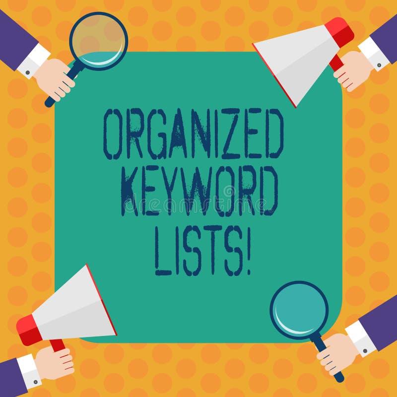 Scrittura della nota che mostra le liste organizzate di parola chiave Foto di affari che montra prendendo lista delle parole chia royalty illustrazione gratis