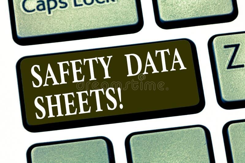 Scrittura della nota che mostra le schede di dati di sicurezza Foto di affari che montra riferimento di informazioni delle liste  illustrazione vettoriale