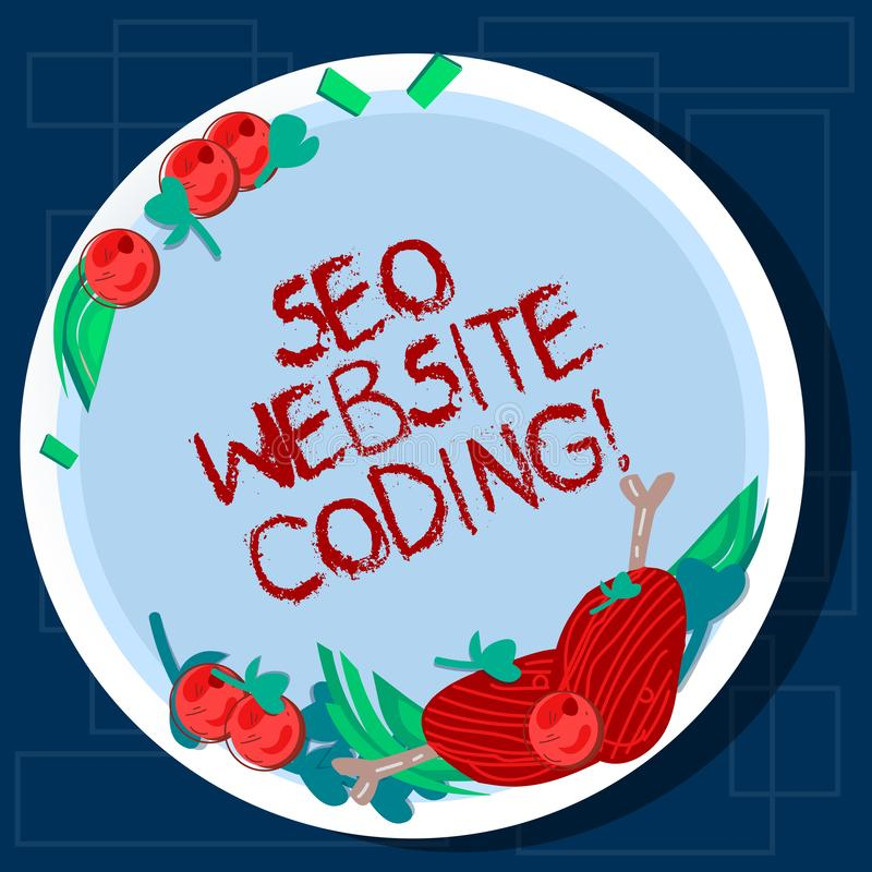 Scrittura della nota che mostra Seo Website Coding Montrare della foto di affari crea il sito nel modo per renderlo più visibile  fotografia stock libera da diritti