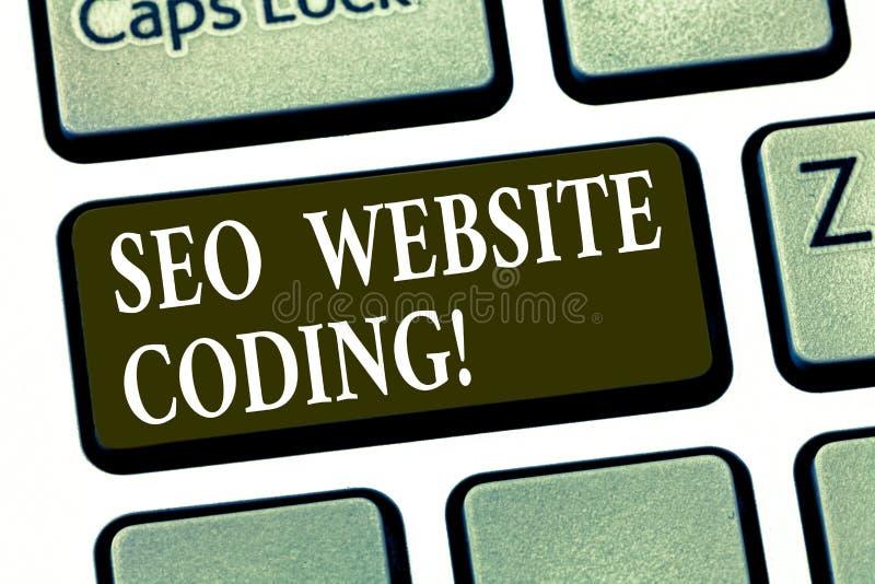 Scrittura della nota che mostra Seo Website Coding Montrare della foto di affari crea il sito nel modo per renderlo più visibile  fotografia stock