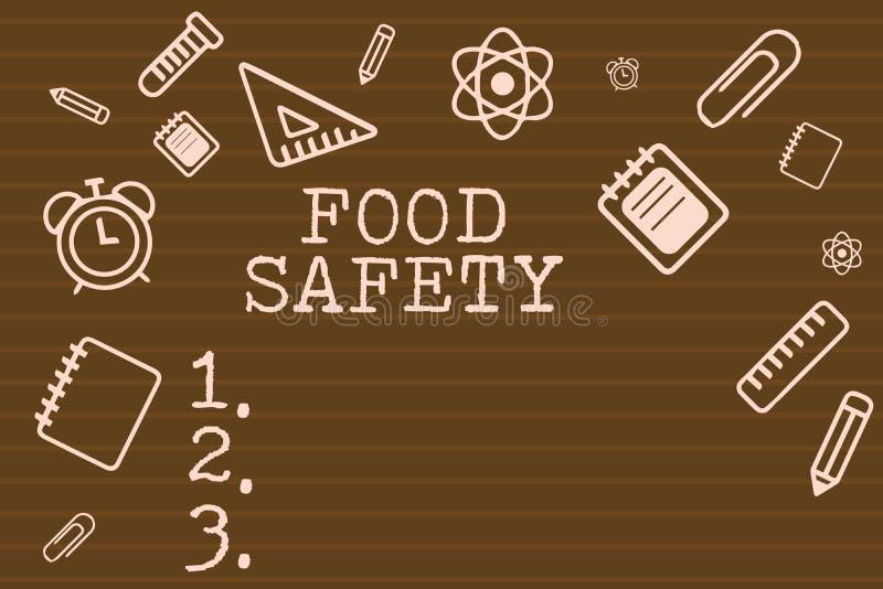 Scrittura della nota che mostra sicurezza alimentare Foto di affari che montrano le circostanze e pratiche che conservano la qual illustrazione di stock