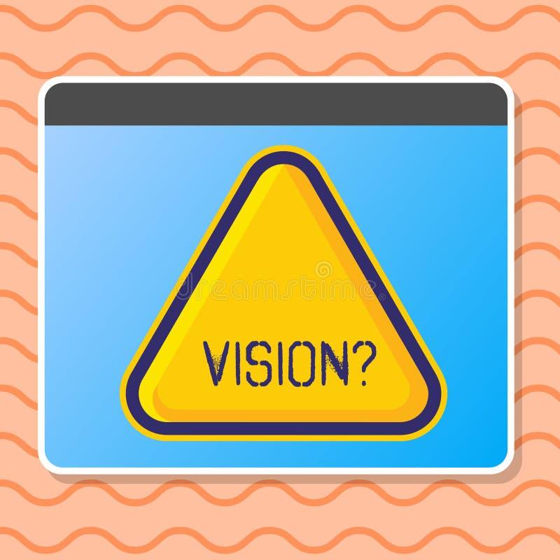 Scrittura della nota che mostra Visionquestion Foto di affari che montra impegno della società che descrive stato realistico futu illustrazione vettoriale