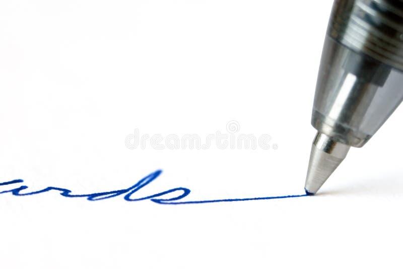 Scrittura della penna immagine stock libera da diritti