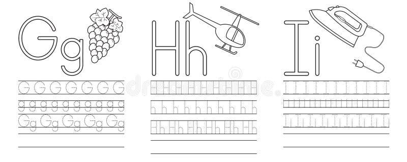 Scrittura della pratica delle lettere G, H, I Libro di coloritura royalty illustrazione gratis